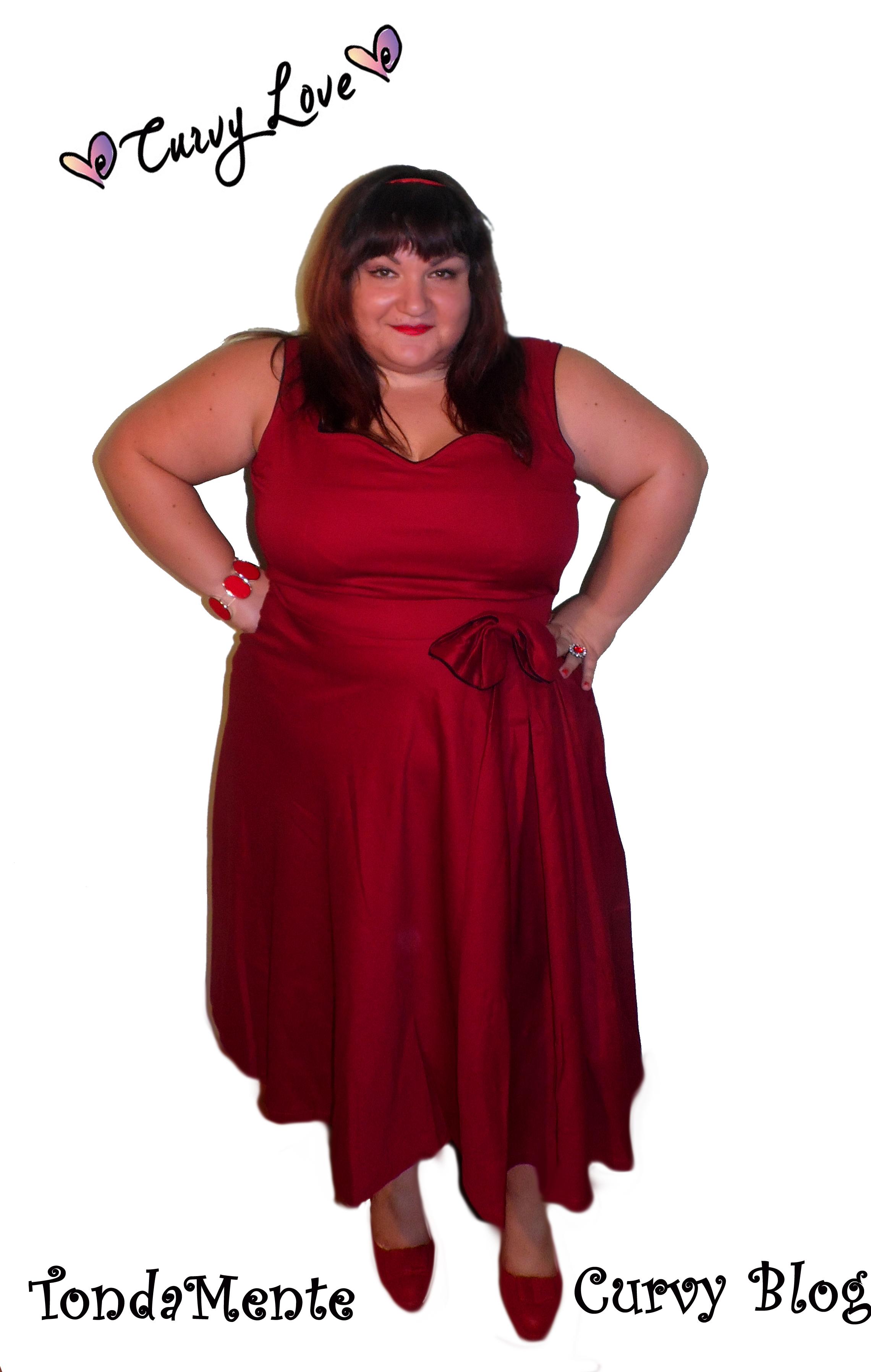 Outfit Plus Size Abito Rosso Anni u0026#39;50 con Fiocco ...