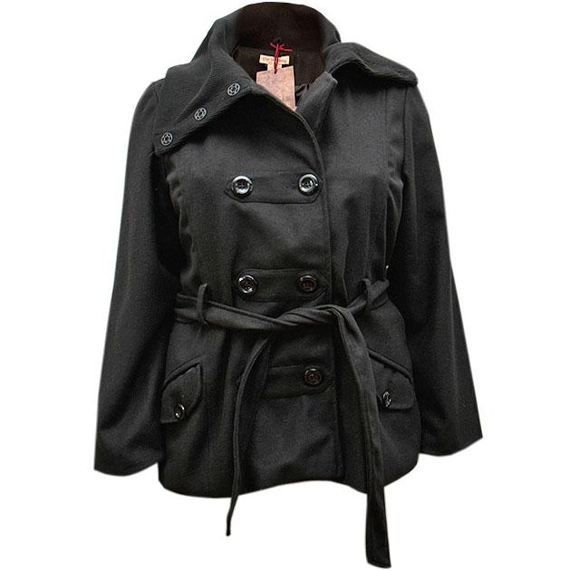Cappotto Nero con Collo Felpato1 plus size